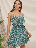 Summer Fashion Floral Print Sling Casual Dress For Women
