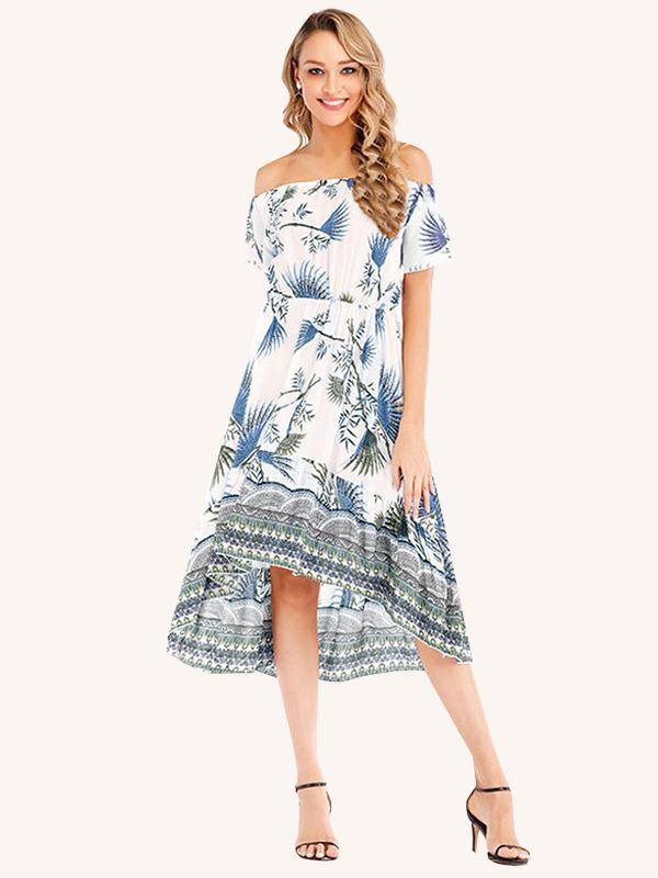 Summer Fashion Off-shoulder Bohemian Print Midi Dress
