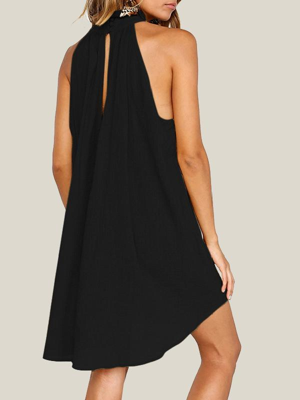 Summer Fashion Solid Color Hanging Neck Sleeveless Irregular Midi Dress