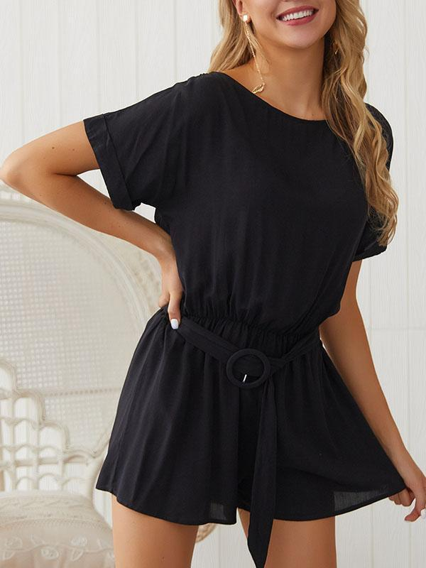 Summer Fashion Solid Color Loose Casual Rompers