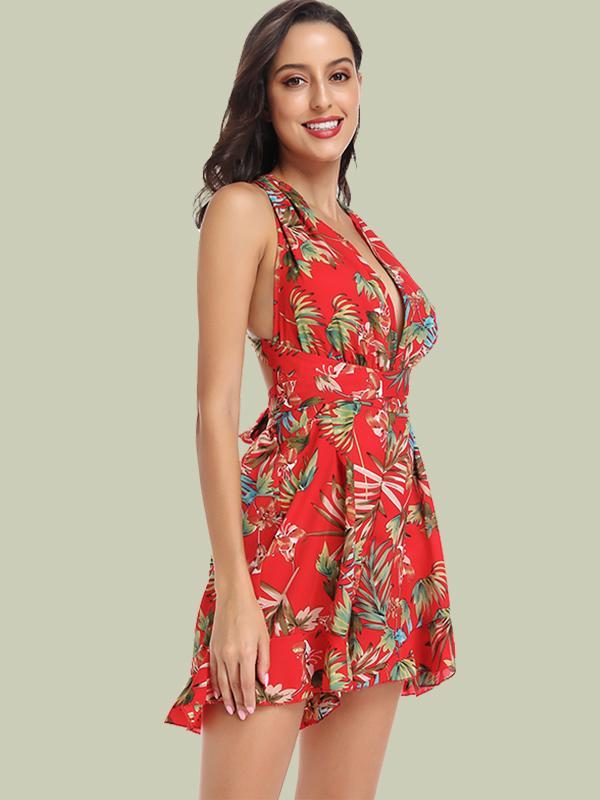 Summer New Women Tie-up Waist Floral Print Rompers