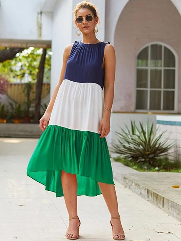 Summer Women Casual Sleeveless Contrast Color Dress