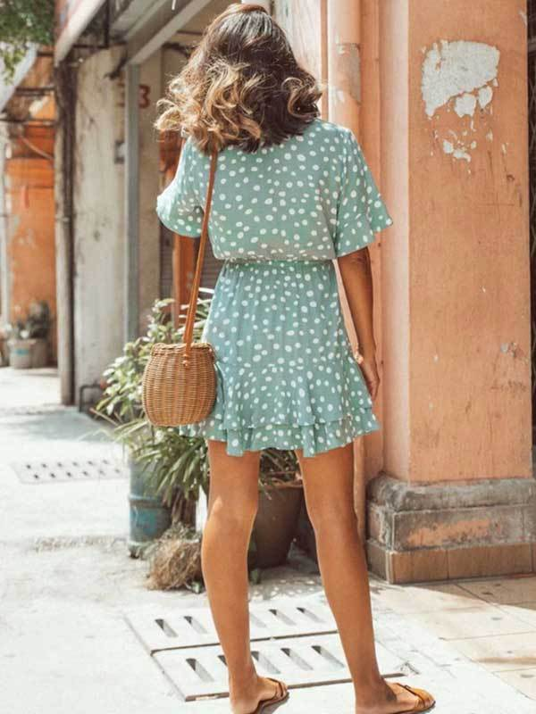 Sweet Deep V-neck Elastic Waist Ruffled Polka Dot Print Dress