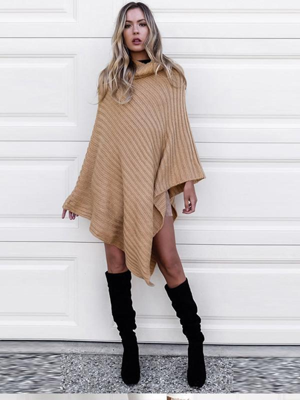 Turtleneck pullover cape for women