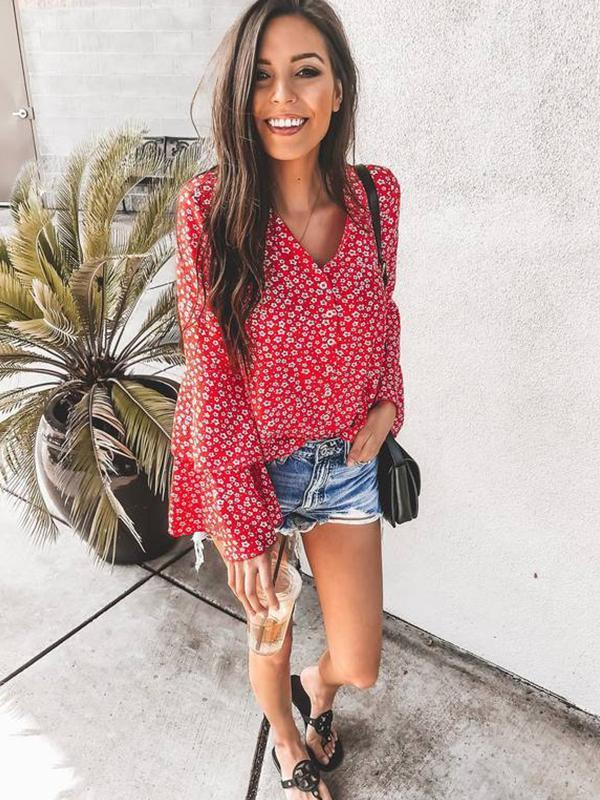 V Neck Floral Printed Flare Sleeve Blouse
