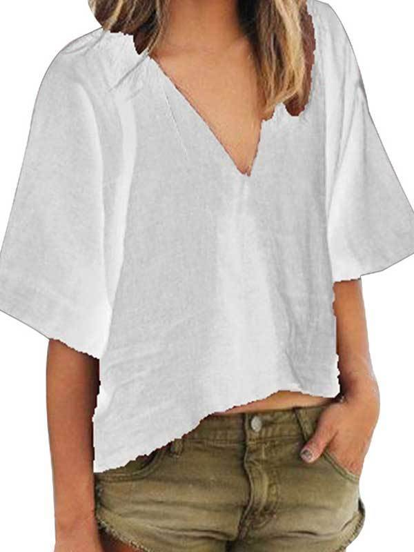 V Neck Half Sleeve Loose Blouse