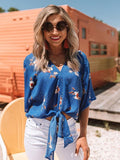 V Neck Lace-up Blue Blouse