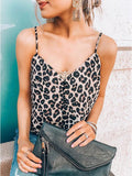 V Neck Leopard Printed Brown Tank Top