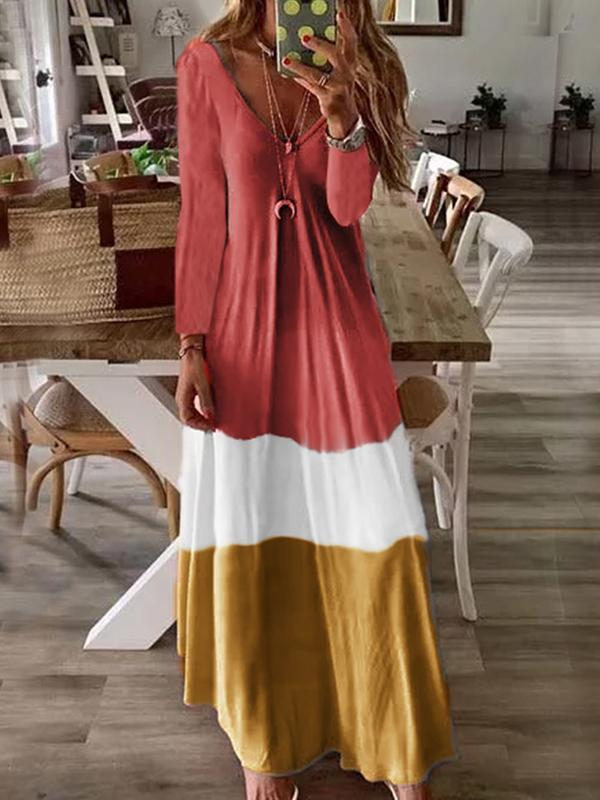 V neck long sleeve color block maxi dress
