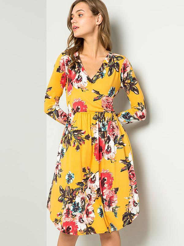 V-neck long sleeve floral dresses
