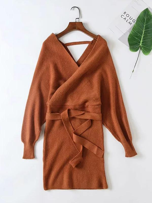 V-neck long sleeve sexy bodycon sweater dresses for autumn