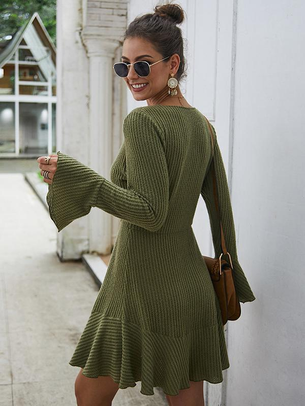 V-neck long sleeve sexy sweater dresses for autumn