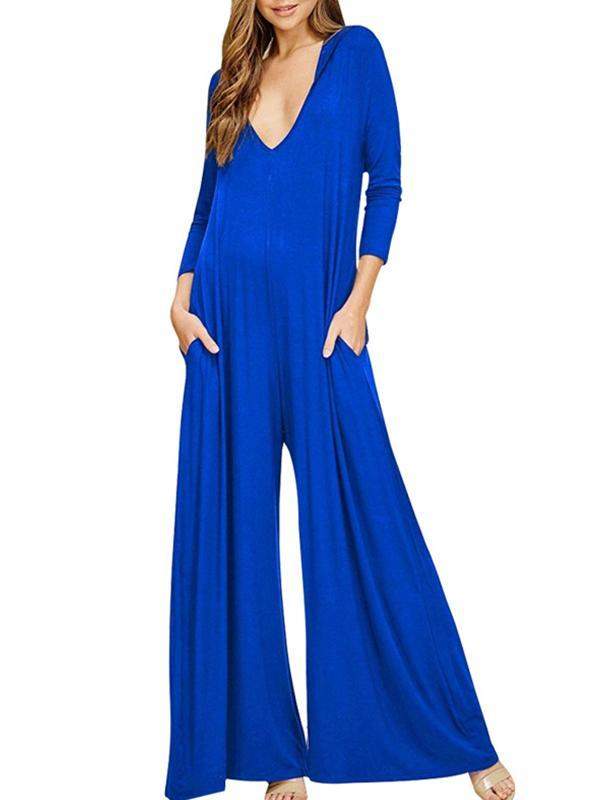 V Neck Loose Long Sleeve Jumpsuit