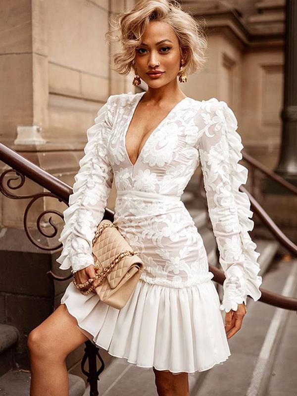 White evening lace dresses