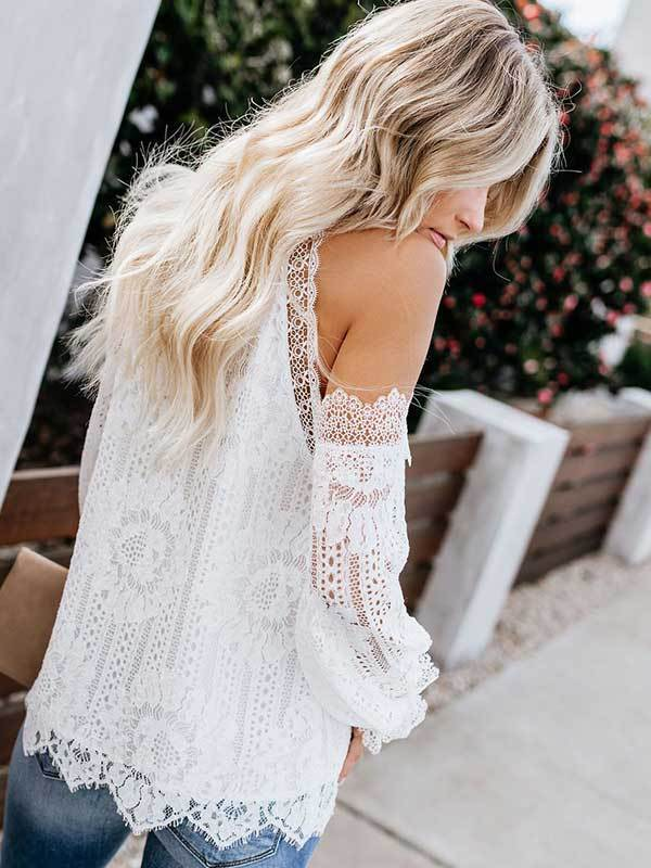 White Lace Trim Patchwork Blouse