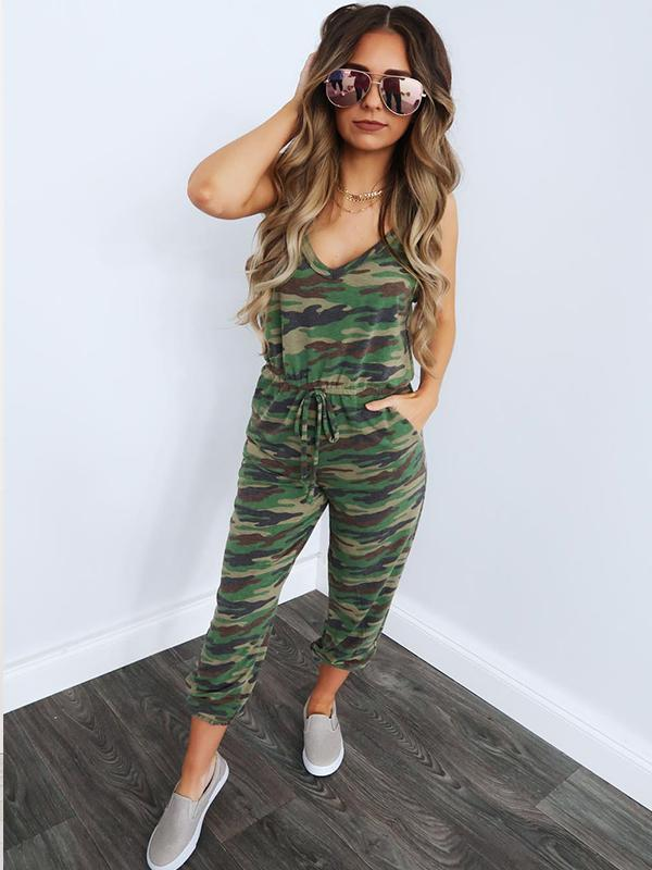 Woman Camouflage Printed Elastic Jumpsuit