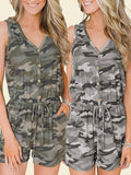 Woman Camouflage Printed Short Romper