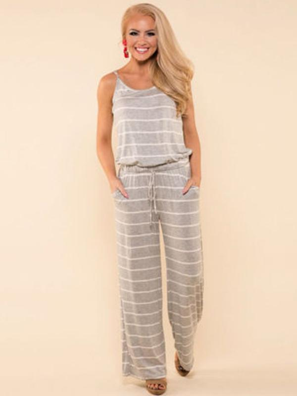 Woman Casual Sling Straight Striped Jumpsuit