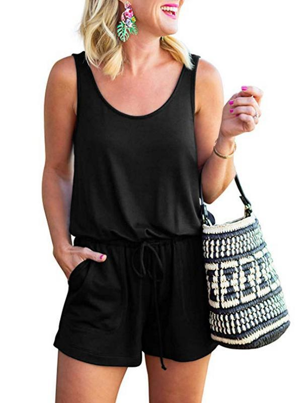 Woman Casual U Neck Lace-up Short Romper
