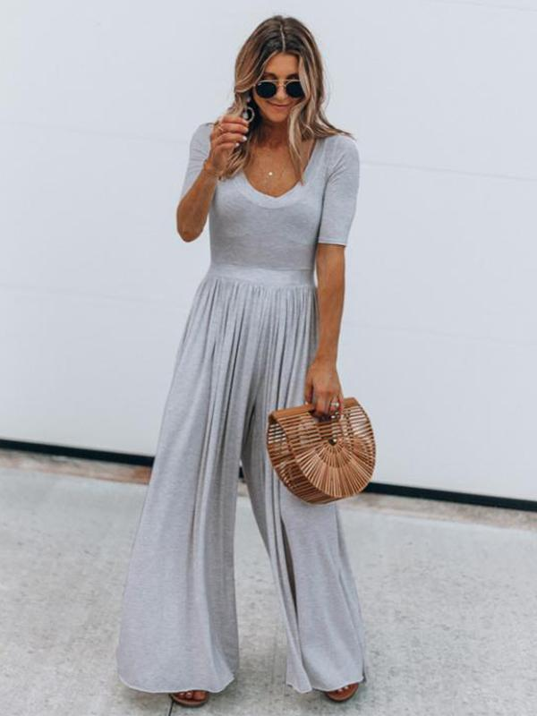 Woman Drape Design Loose Jumpsuit