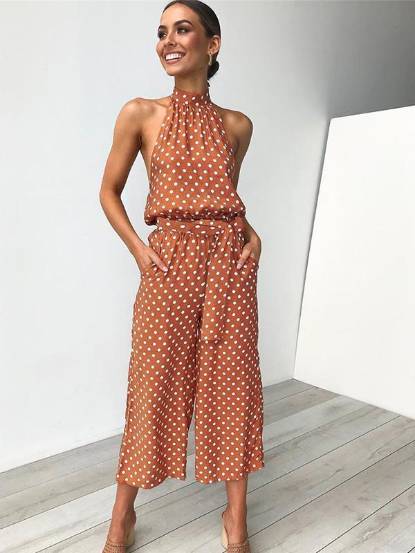 Woman Halter Neck Dot Printed Straight Jumpsuit