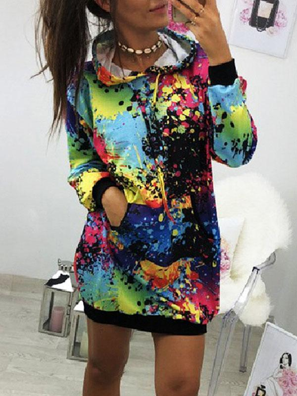 Woman Hooded Printed Fleece Sweater