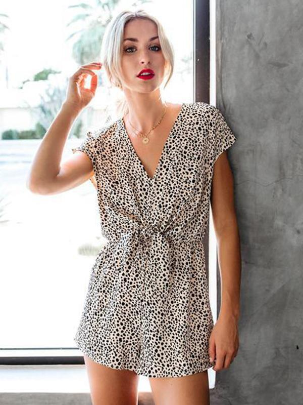 Woman Leopard Printed Knot Design Short Romper