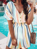 Woman Multicolor Striped Loose One-piece Short Romper