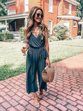 Woman Sling V Neck Solid Lace-Up Jumpsuit