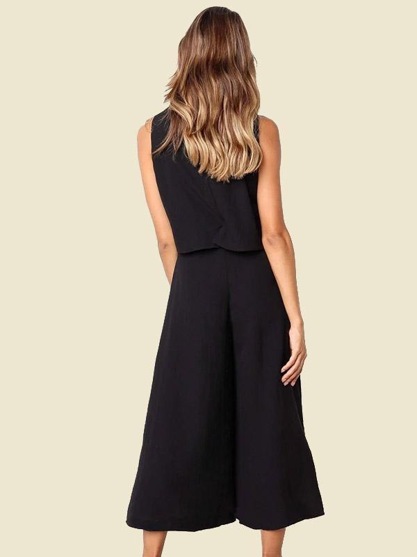 Woman Solid Loose One-piece Jumpsuit