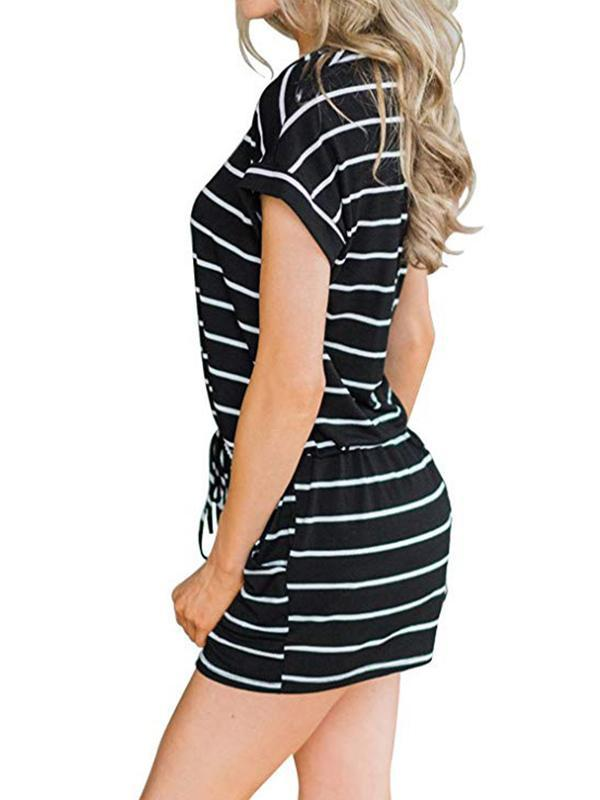 Woman Striped White Lace-Up Short Romper