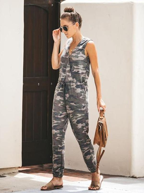 Woman V Neck Camouflage One-piece Jumpsuit