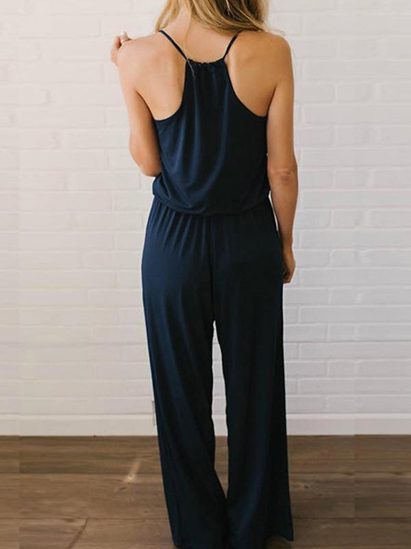 Woman V Neck Dark Blue Loose One-piece Jumpsuit