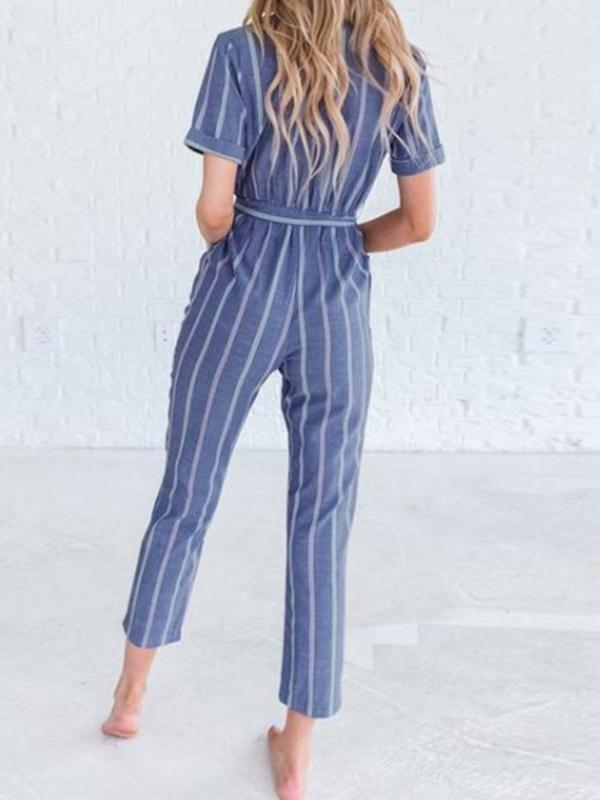 Woman V Neck Striped Lace-up Black Jumpsuit