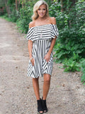 Woman2019 Explosion Fashion Dress striped collar