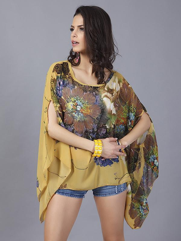women batwing sleeve chiffon top