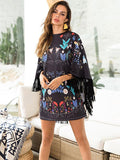 women Batwing Sleeve floral dress