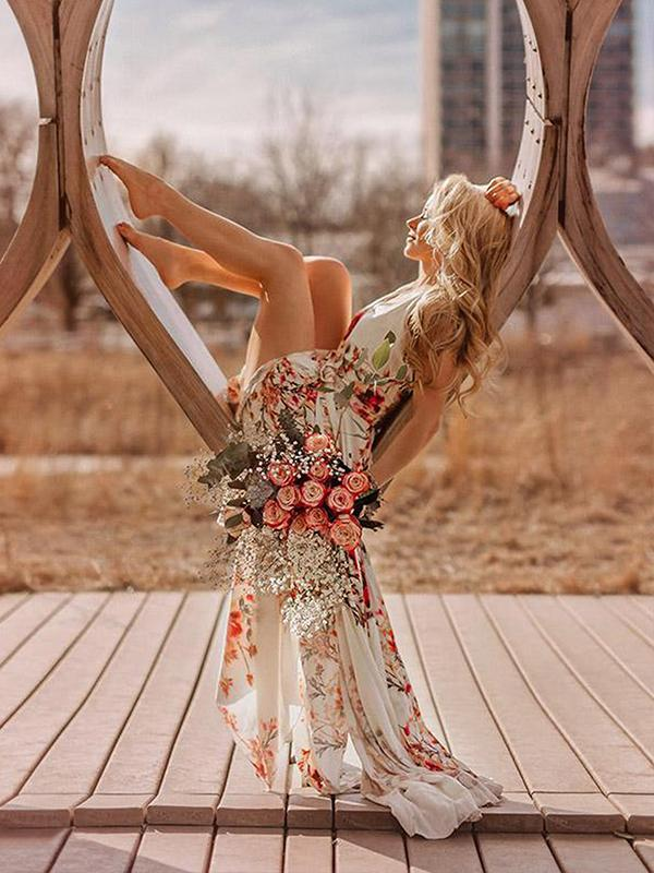 women Bohemia style long dress | holiday beach dress