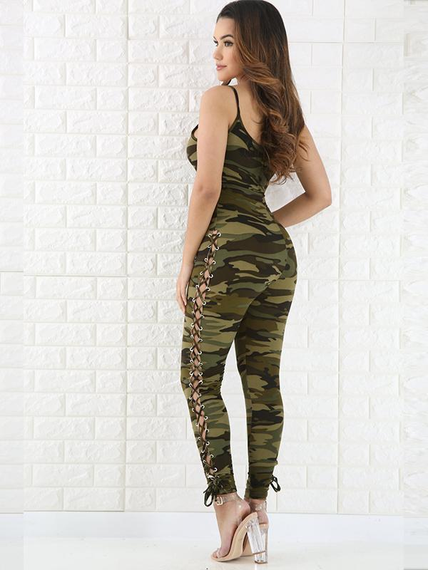 women camouflage sexy cami jumpsuit