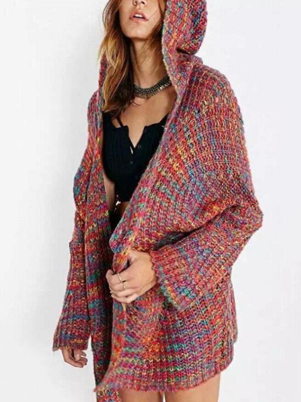 women Cardigans Sweater Coat with hood