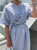 women casual collect waist striped dress with belt