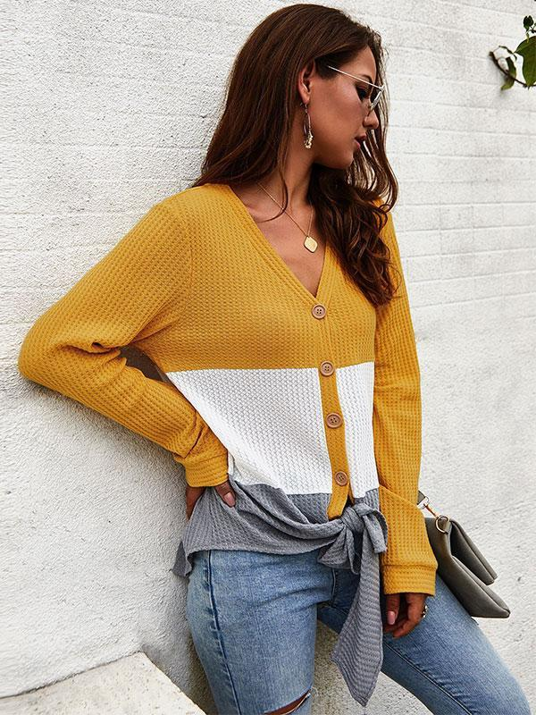 women color block cadigan knit top
