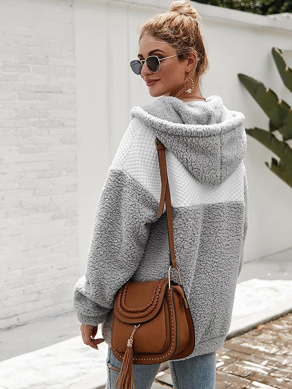 women color block hooded cardigan sweater
