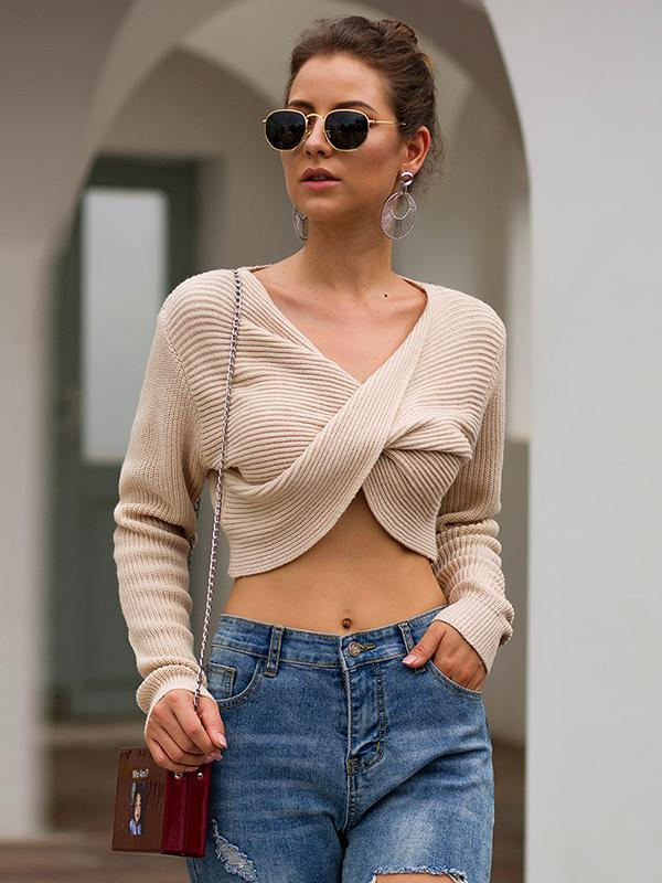 Women Cross-length Long-sleeved Navel Sexy Knit crop top sweater