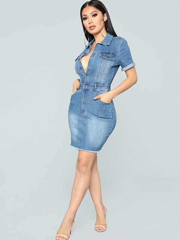 women deep v neck denim sexy bodycon dress