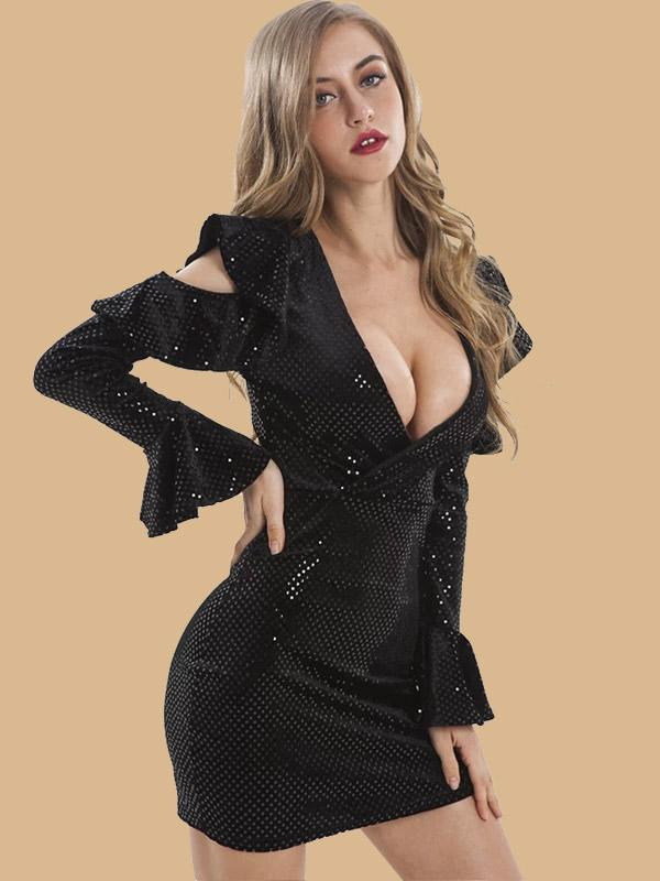 women deep v neck long flare sleeve sexy bodycon dress