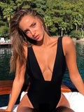 Women Deep V-neck Solid One Piece Swimsuit