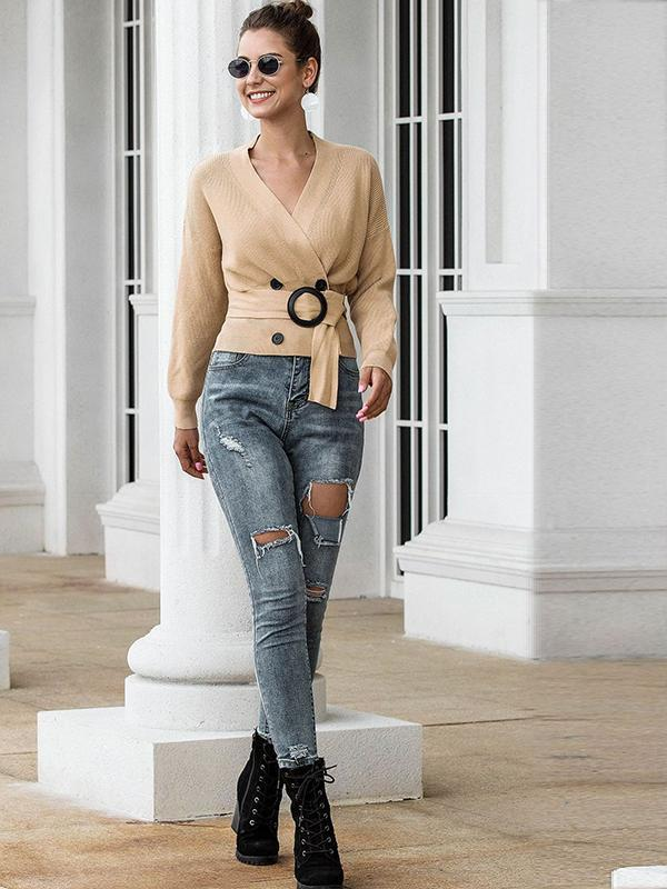 women double breasted long sleeve cardigan knit sweater with belt