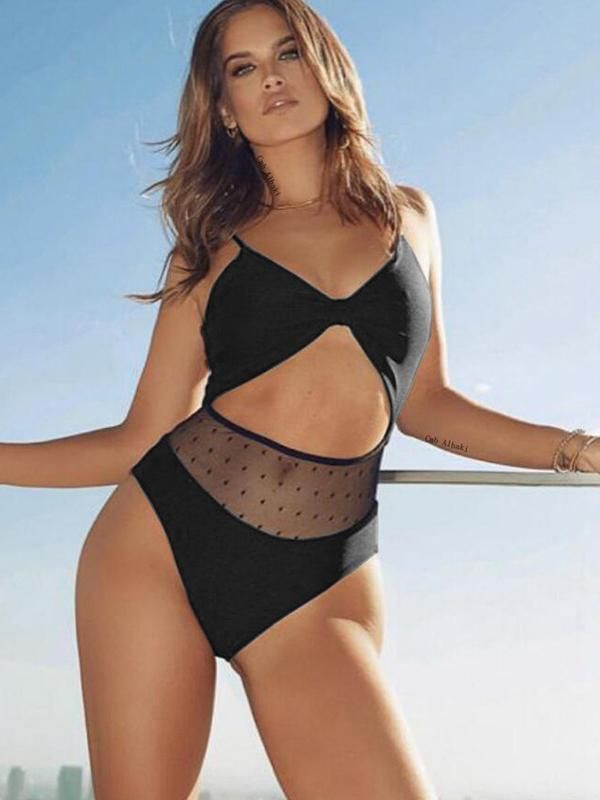 Women Fashion Black One Piece Swimsuit