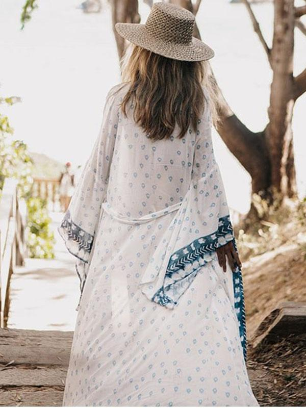 Women Fashion Bohemian Print Kimono Big Sleeve Cover-up
